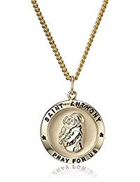 """14k Gold Filled Round Saint Anthony Pendant Necklace with Stainless Steel Chain, 20"""""""