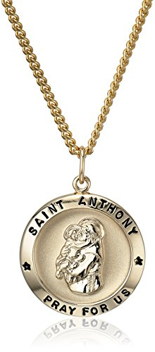 """14k Gold-Filled Round Saint Anthony Pendant Necklace with Stainless Steel Chain, 20"""""""