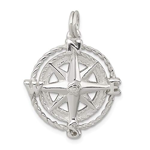 925 Sterling Silver Compass Pendant Charm Necklace Man Fine Jewelry Gift For Dad Mens For Him Compass Booster Car Seat
