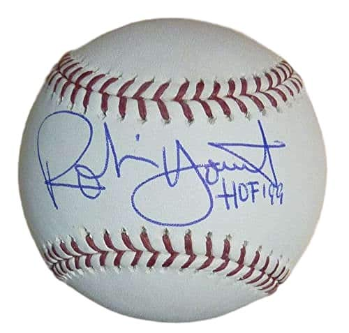 Robin Yount Autographed/Signed Milwaukee Brewers OML Baseball HOF ()