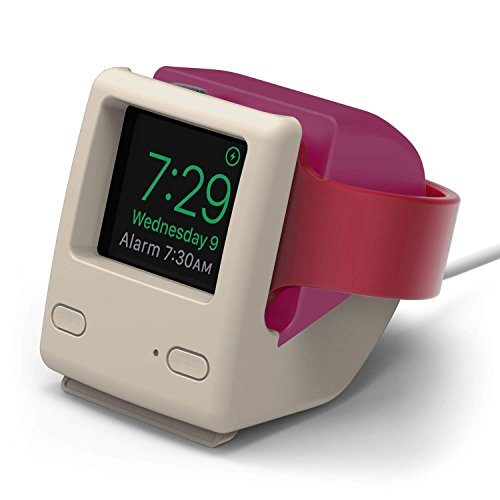 elago W4 Stand for Apple Watch Series 4 / Series 3 / Series 2 / Series 1 / 44mm / 42mm / 40mm / 38mm [Nightstand Mode][Vintage 1998 Design][Patent Pending] -Aqua Pink