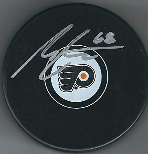 Autographed Morgan Frost Philadelphia Flyers Hockey Puck