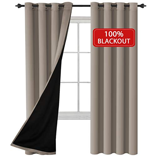 100% Blackout (2 Panels) Solid Drapes and Curtains Blackout Curtains 84 inches Long Faux Silk Lined Curtain Drapes Thermal Insulated Window Treatments for Bedroom / Living Room, 52