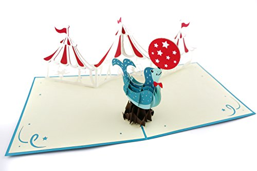 Poplife Animal Circus 3D Pop Up Greeting Card For All Occasions   Babies  Animal Lovers  Classic Show   Folds Flat For Mailing   Baby Shower  Birthday Gift  Get Well  Newborn Announcement  Congrats