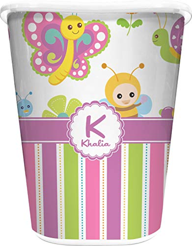 (RNK Shops Butterflies & Stripes Waste Basket - Single Sided (White) (Personalized))
