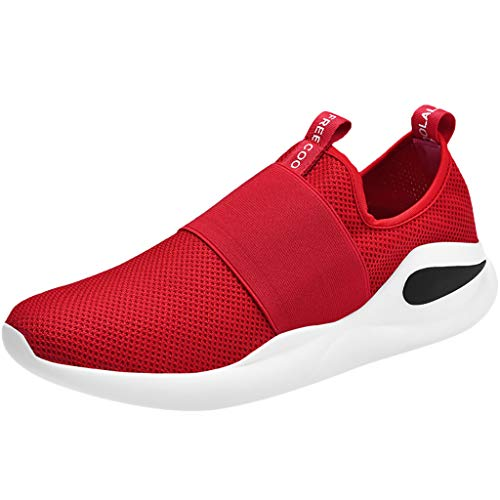 Men Mesh Letter Solid Elastic Running Sport Flat Ankle Round Toe Casual Shoes (Red 1, US:8)