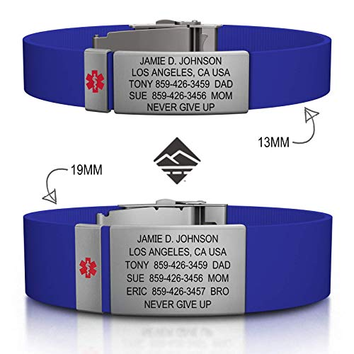 Road ID Personalized Medical ID Bracelet - Official ID Wristband with Medical Alert Badge - Silicone -