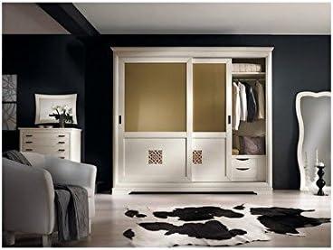 Armario puertas correderas Cristal lacado en blanco o marfil ...