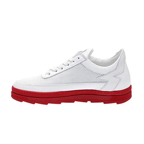 Cuero Mikybrosso Blanco Zapatillas Mujer Mohai qz7XPcfwO