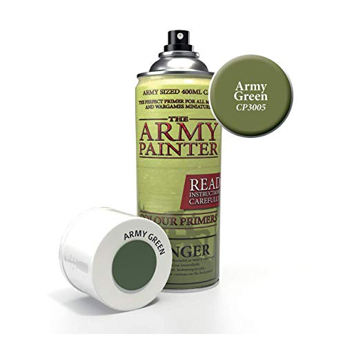 The Army Painter Color Primer, Army Green, 400 ml, 13.5 oz - Acrylic Spray Undercoat for Miniature Painting