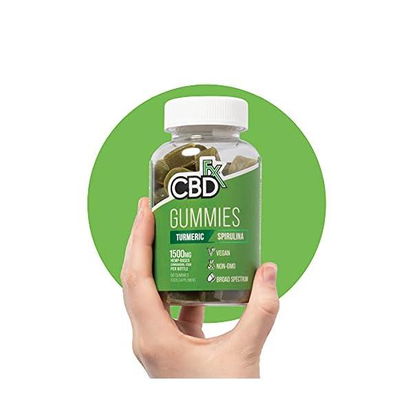 CBDfx Turmeric & Spirulina CBD Gummies (60 Gummy Bottle) – 1500mg CBD