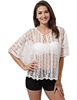 LookbookStore Women's White Sheer Lace Front Keyhole 1/2 Sleeves Top Blouse