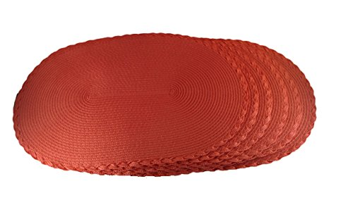Springs Places Coral (Coscape set of 6 (six), oval indoor/outdoor, woven placemats or chargers, with triple braid border 18
