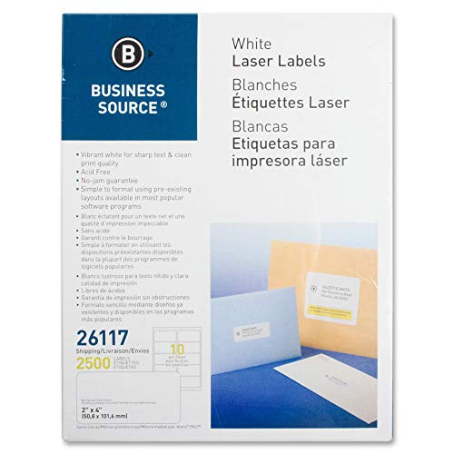 Business Source Bright White Premium-Quality Shipping Labels, ()