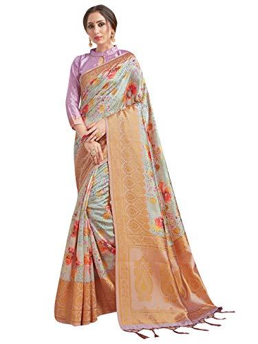 Sarees for Women Banarasi Art Silk Digital Print Sari with Zari Resham Woven Border – Indian Gift Saree & Unstitched…