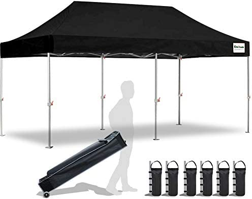 EliteShade 10 x20 Commercial Ez Pop Up Canopy Tent Instant Canopy Party Tent Sun Shelter with Heavy Duty Roller Bag,Bonus 4 Weight Bags,Black