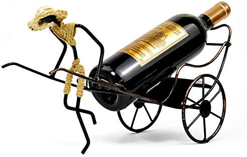 Wine Bottle Holder Stand Rickshaw Decor Caddy countertop Table top Wine Rack Single-Bottle Home Gift Kitchen Gift Wine Shelf