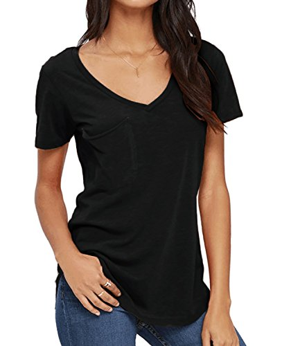 DEARCASE Women's Short Sleeve Tunic Tops Plain Casual T-Shirts Basic Tees Tops Blouse Black (Green Womens V-neck T-shirt)