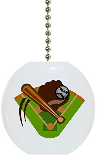 Carolina Hardware and Decor 1025F Baseball Bat & Glove Ceramic Fan Pull