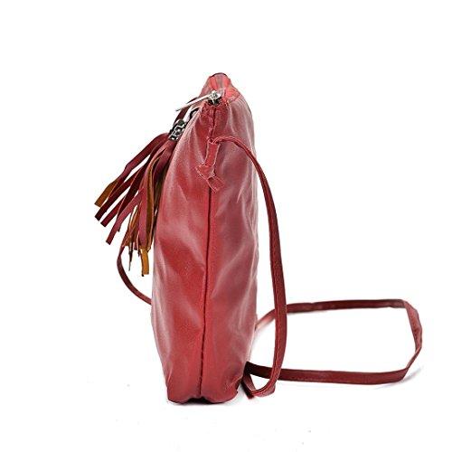 Umhängetasche Frauen,Hunpta Frauen Handtasche Reißverschluss Tasche Umhängetasche Messenger Bag Tote Damen Handtasche Rot