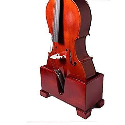 Paititi Premium Cello Burgundy Solid Wood Stand Velvet Plush Cushions 4/4 Full Size