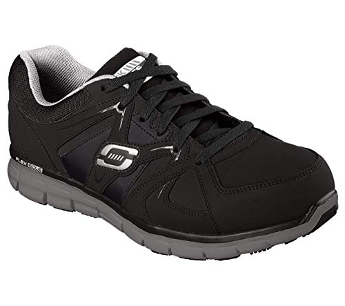 Skechers for Work Men's Synergy Ekron Work Shoe,Black/Charcoal,9.5 W US (Best Way To Protect Leather Shoes)