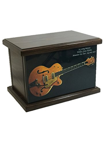 Cremation Urn, Wood funeral Urn, Guitar Wooden Urn with custom personalization - Misc Urn