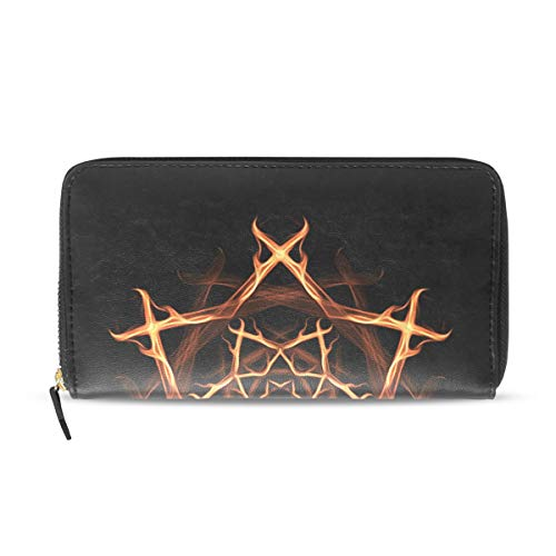 Pentagram Wallet (LORVIES Pentagram Witches PU Leather Large Capacity Wallet Card Holder Organizer with Zipper Clutch Purse For Women)