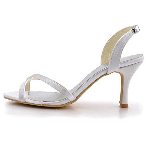 ElegantPark EP2105 Mujer Satén Open Toe Sandalias Zapatillas Abiertas Tacón De Aguja Bombas Zapatos De Novia Blanco