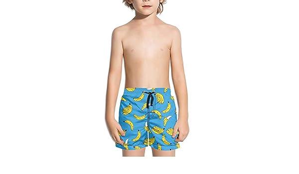 SYBING Art Banana Pattern Boys Novelty 3D Printed Drawstring Elastic Waist Hawaiian Beach Board Shorts