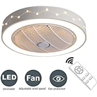Ventilator aan het plafond met verlichting Remote dimbare LED-plafond licht 3-gangen Invisible Silent Fan Ceiling Lamp Modern for Children's Bedroom Chandelier [Energy Class A]