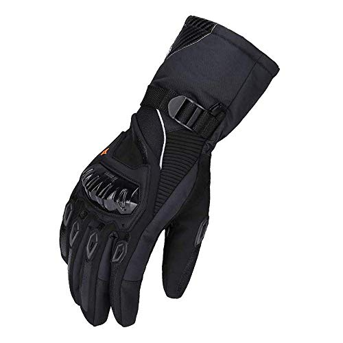 kemimoto Winter Motorcycle Gloves, Warm Waterproof Motorbike Gloves with Hard Knuckle Protection Breathable Gloves for Winter Riding, ATV, Scooter, Snowmobile - Black, X-Large