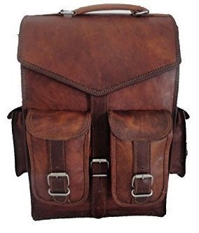 { Shreenath Enterprises }15' Mens Vintage Leather Laptop Backpack Shoulder Messenger Bag Rucksack Sling for 2 in 1 purpose