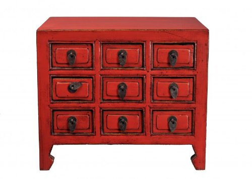 Antique Revival Knick Knack Storage Chest, Red -