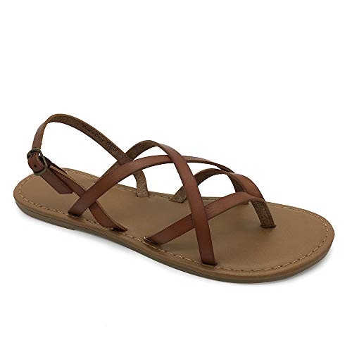 LUFFYMOMO Women's Casual Gladiator Flat Sandals Fisherman Strappy Sandal(9 M US Brown)
