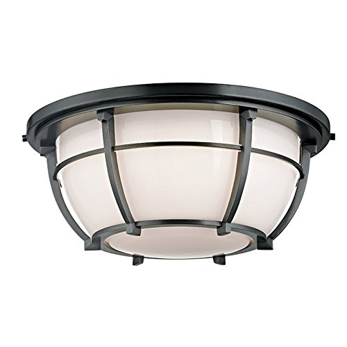 Conrad 3-Light Flush Mount - Old Bronze Finish with Opal Glossy Glass Shade