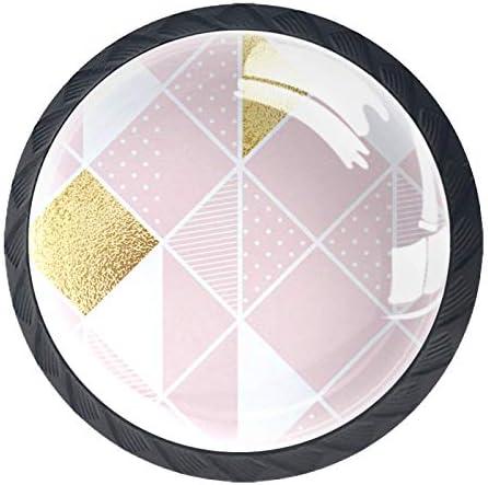 Ladeknoppen Ronde Kast Handgrepen Pull voor Thuiskantoor Keuken Dressoir Garderobe Decoreren Roze Wit Gouden Ruit