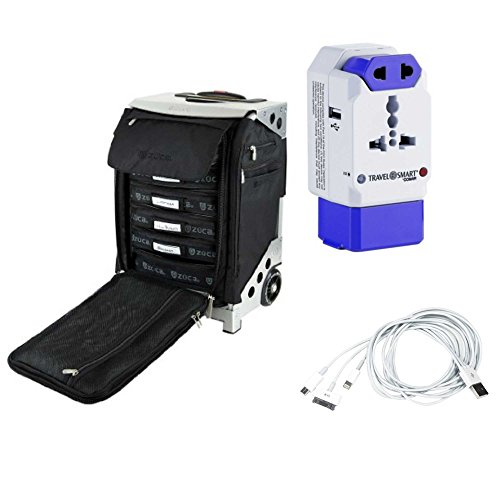 Zuca Flyer Artist Suitcase (Silver) w. Seat, Packing Pouches, International Power Adapter and Charging Cable by ZUCA