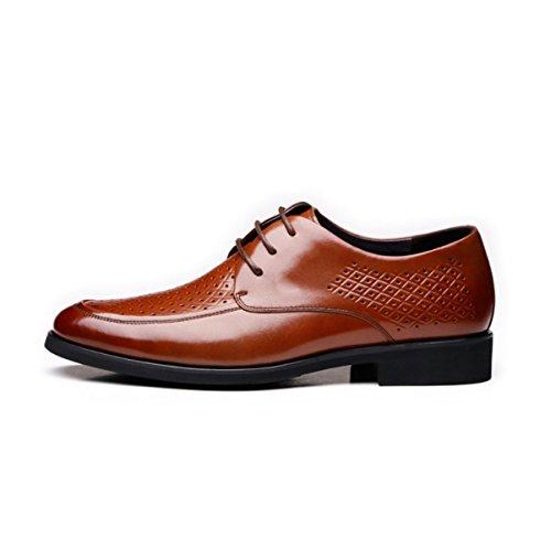 LYZGF Hommes Gentleman Summer Business Casual Mode Respirant Lace Up Chaussures En Cuir Brown d7CCwARohZ