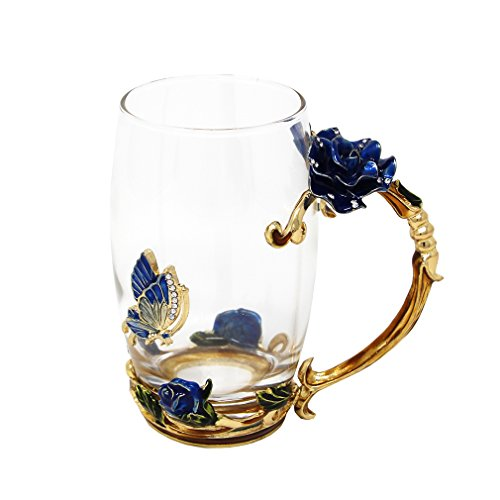 Coffee Cups and Mugs, Novelty Enamel Handle & Flower Design, Special Gifts for ()
