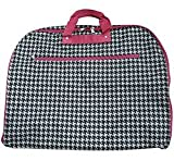 World Traveler 40-inch Houndstooth Garment Bag, Black and White with Pink