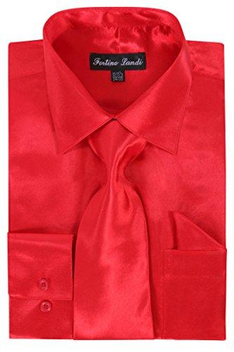Men's Shiny Satin Dress Shirt- Red (17.5) Neck 36/37 Sleeve