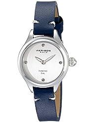 Akribos XXIV Womens AK750BU Quartz Movement Watch with Silver Dial and Blue Calfskin Leather Strap
