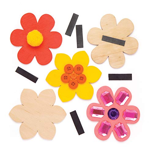 Baker Ross Flower Wooden Magnets (Pack of 10) Spring Themed Crafts for Kids to Decorate and Display