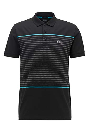 BOSS Mens Paule 8 Slim-fit Polo Shirt in Cotton with Engineered Stripes