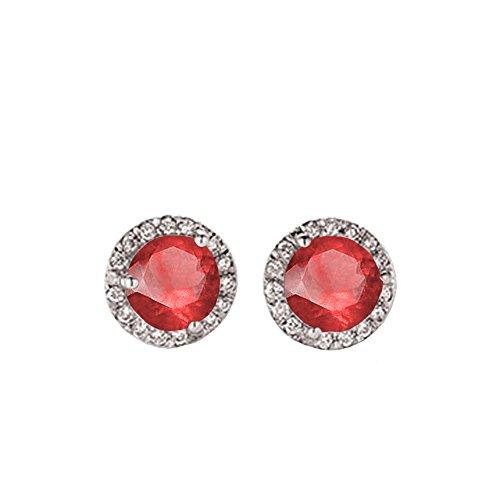 0.50 Carat (ctw) 14K White Gold Round Ruby & White Diamond Ladies Halo Style Stud Earrings 1/2 CT -