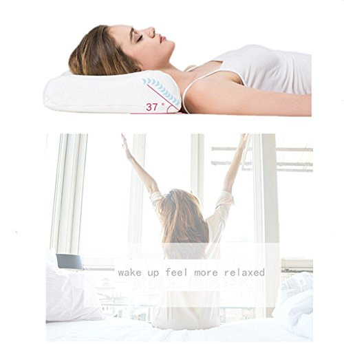 Dream Memory Foam Cervical Contour Pillow - Ergonomic Neck Pillow with Orthopedic Design for Neck Support and Pain Relief - Bed Sleeping Pillow with Washable Pillowcase - White by Dream (Image #3)
