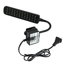 SODIAL(R) 220V 48 LED Aquarium Fish Tank Clamp Clip Lamp Light White&Blue Color Lighting (Color: Black)