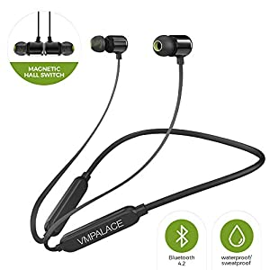 VMPALACE Bluetooth Headphones, Noise Cancelling Headphones with Microphone – Magnetic HD Stereo Wireless Headphones, IPX7 8 Hour Battery Waterproof Bluetooth Headset for Running Workout & Gym