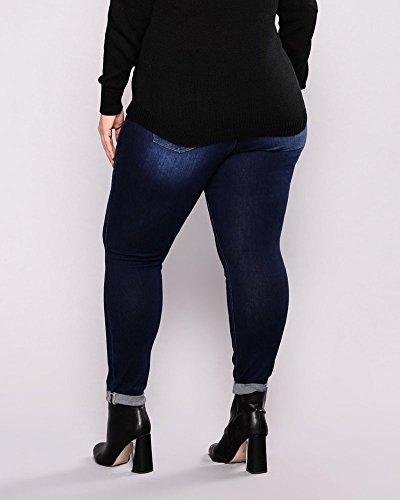 Femme Jeans Trous En Casual Dchirs Pantalons Stretch Fonc Jeans Crayon Bleu t8S8Xw5qx